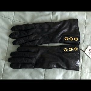 Authentic Coach Leather & Cashmere Gloves NWT